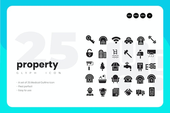 Thumbnail for 25 Property Glyph Icon Set
