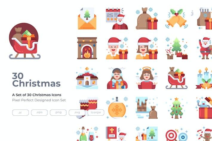 Thumbnail for 30 Christmas Icons - Flat