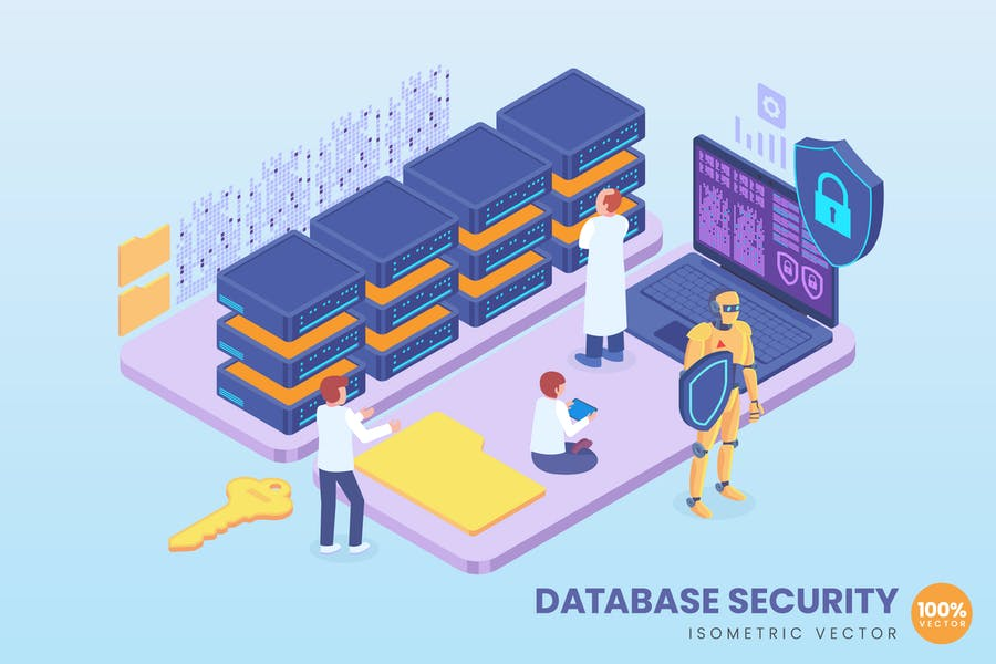 Isometric Database Security Concept