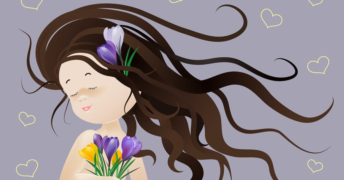 Download Beautiful girl with spring flowers. Vector by masastarus