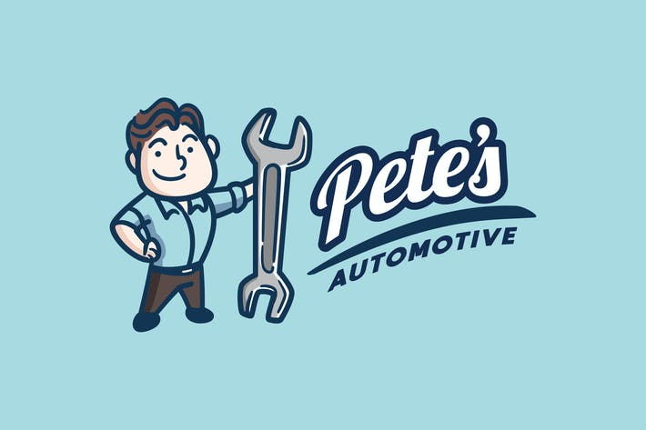 Cover Image For Retro Vintage Mechanic or Repaiman Mascot Logo