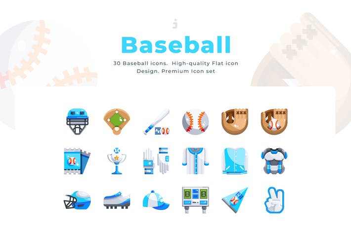 Cover Image For 30 Baseball Icons - Flat
