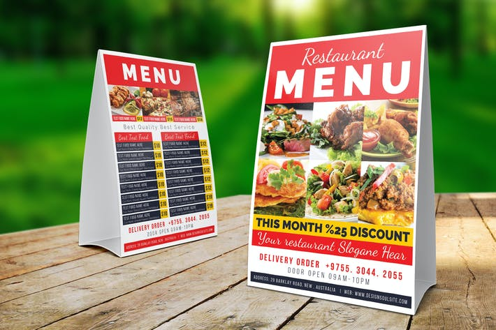Restaurant Table Tent Template By Designsoul On Envato Elements - Restaurant table tent template