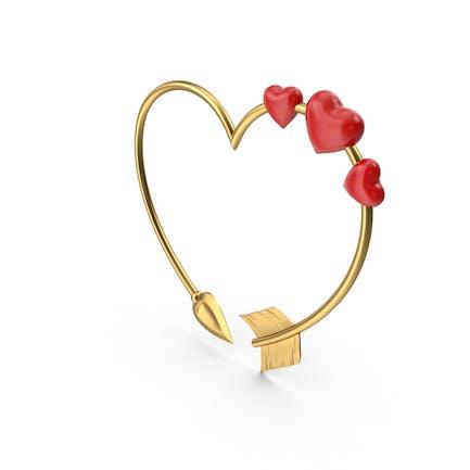 Flechas doradas en forma de corazón