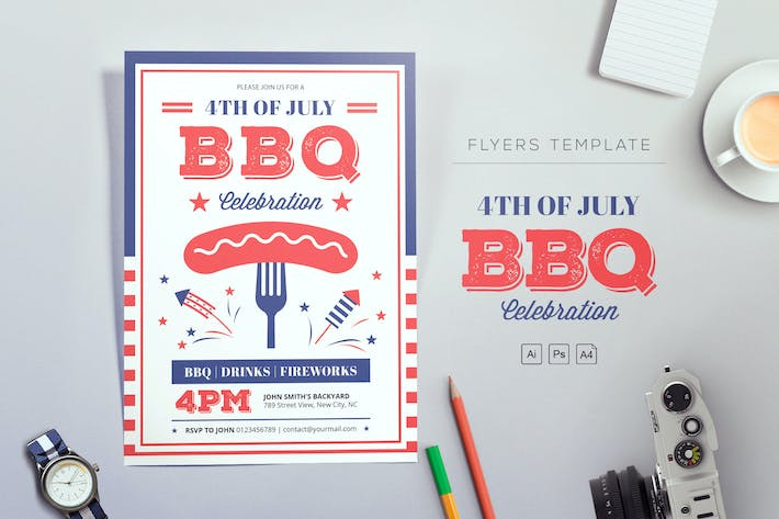 Thumbnail for 4th of July BBQ Flyers