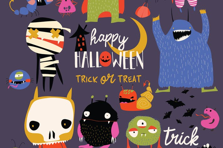 Set of cute colorful monsters. Vector illustration