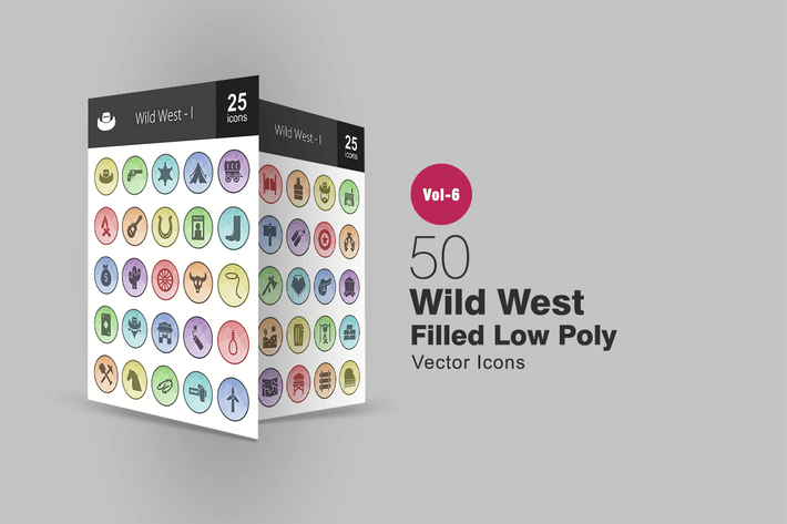 Thumbnail for 50 Wild West Filled Low Poly Icons
