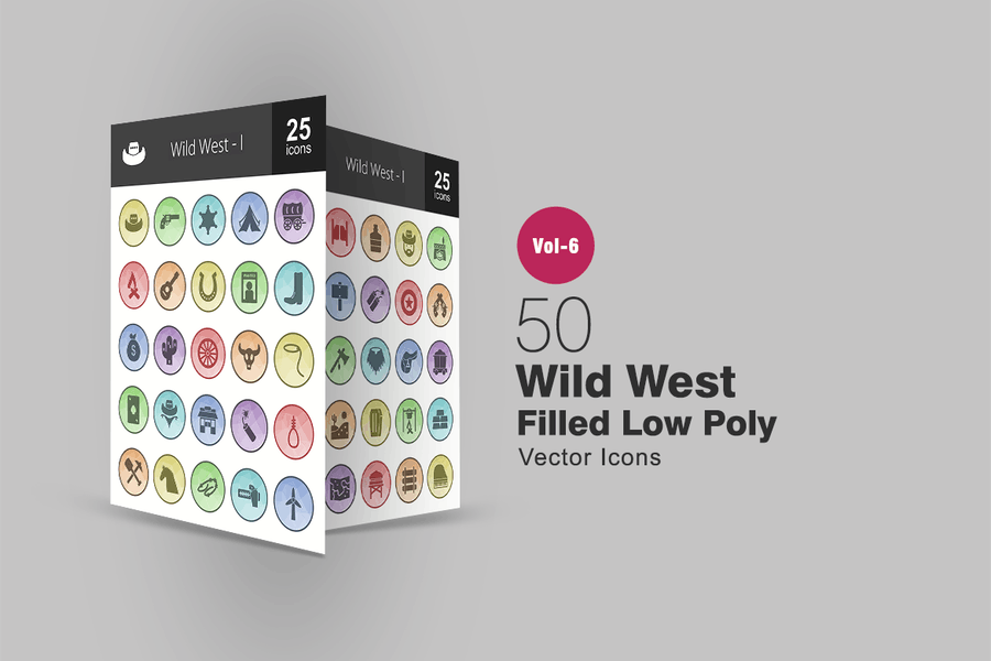 50 Wild West Filled Low Poly Icons