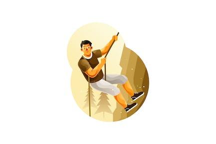 Rock climber climbing a cliff