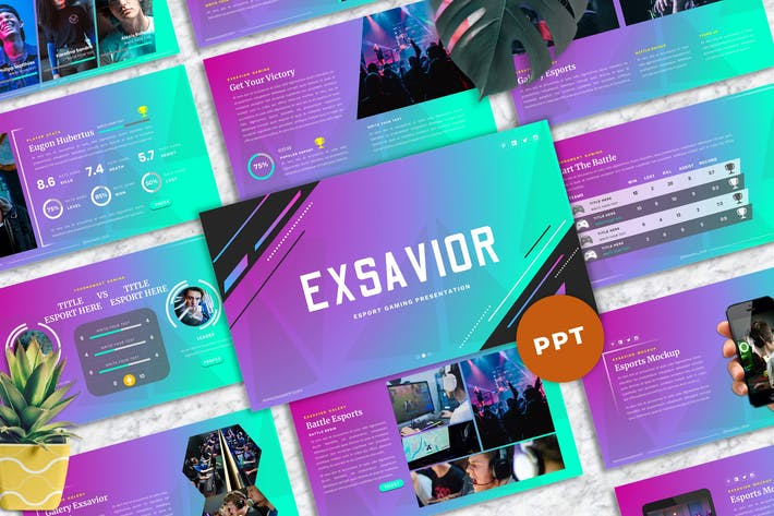 Cover Image For Exsavior - Gaming PowerPoint Template