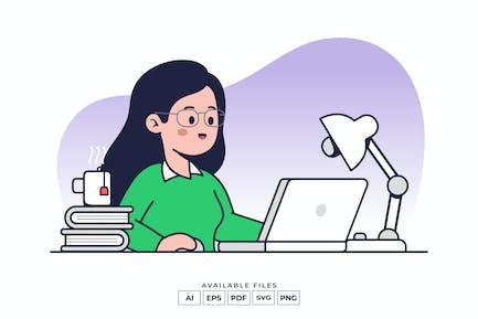 Working On Laptop Illustration