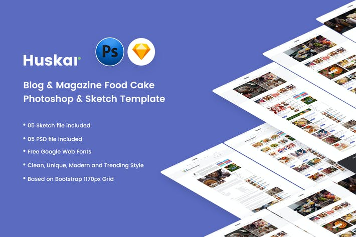 Thumbnail for HUSKAR - Blog & Magazine Cake, Food Template
