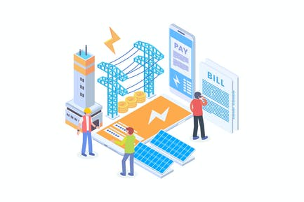 Electricity Bill Payment Mobile App Isometric
