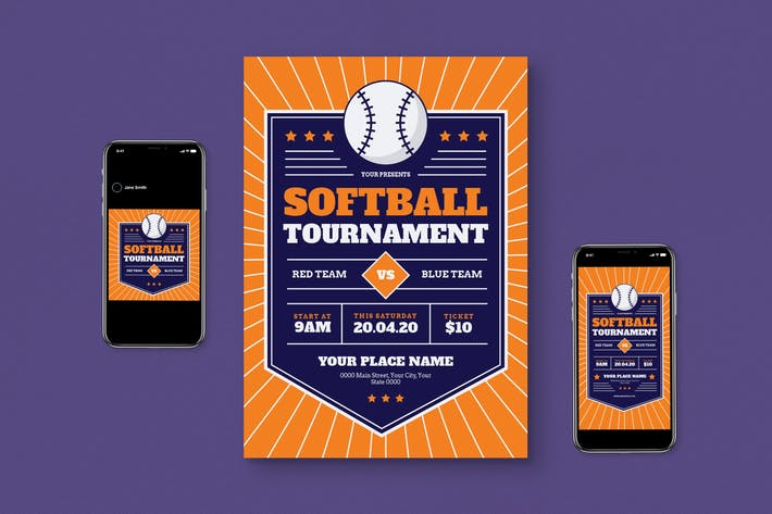 Softball Tournament Flyer Set