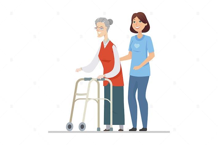 Thumbnail for Volunteer helping senior woman - flat illustration