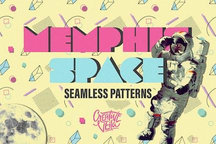 Memphis Space Seamless Patterns
