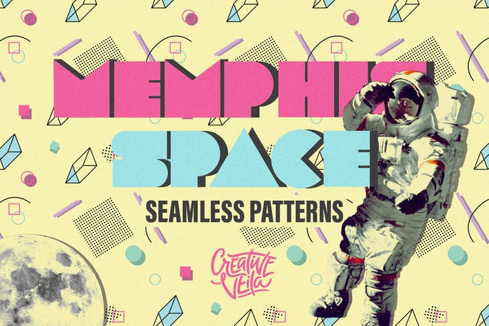 Thumbnail for Memphis Space Seamless Patterns