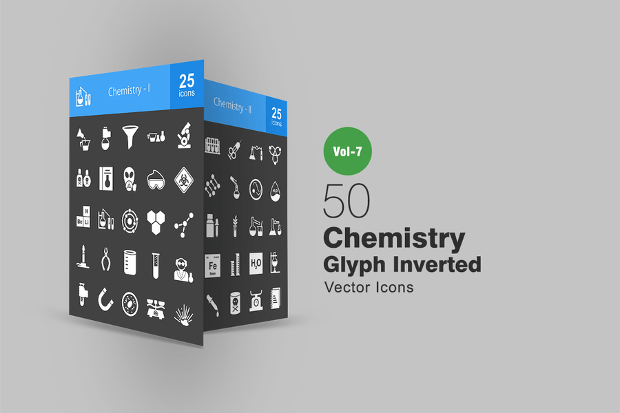 50 Chemistry Glyph Inverted Icons