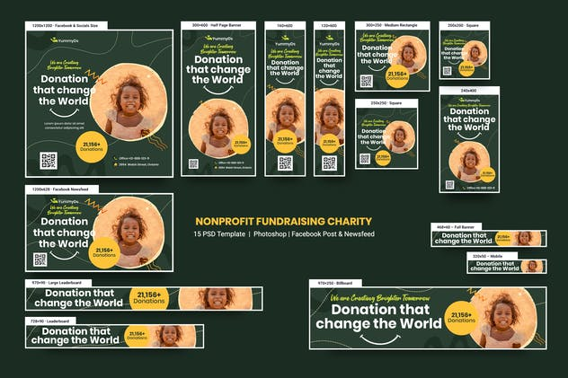 NonProfit Fundraising Charity Banners Ad