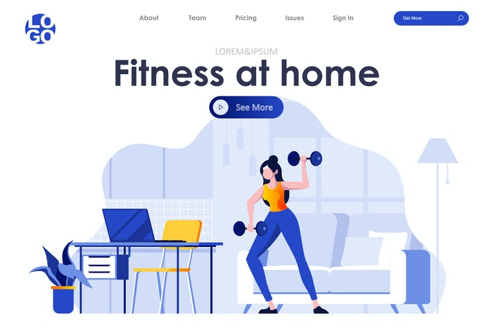 Thumbnail for Fitness at Home Landing Page Flat Concept