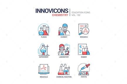 Chemistry - modern line design style icons set