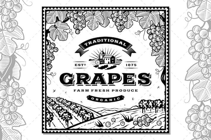 Thumbnail for Etiqueta de uvas Vintage en blanco y negro
