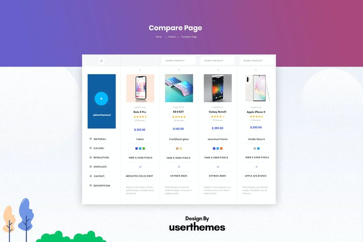 Thumbnail for Products Comparison Page Design