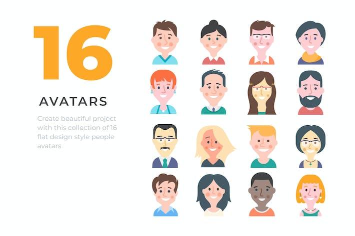 Thumbnail for 16 Cartoon Style People Avatars