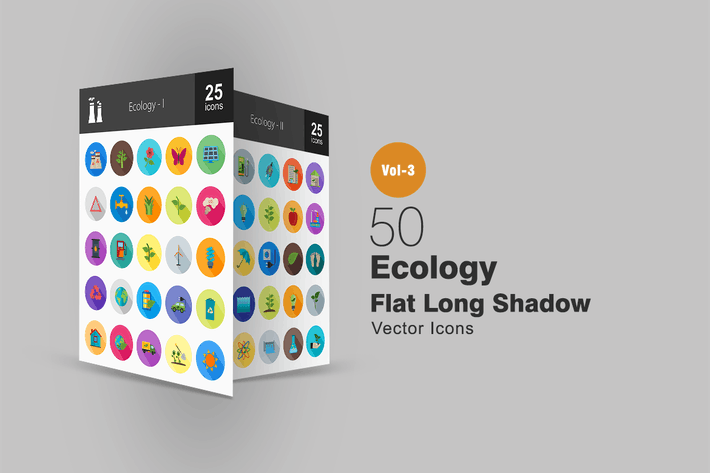 Thumbnail for 50 Ecology Flat Shadowed Icons