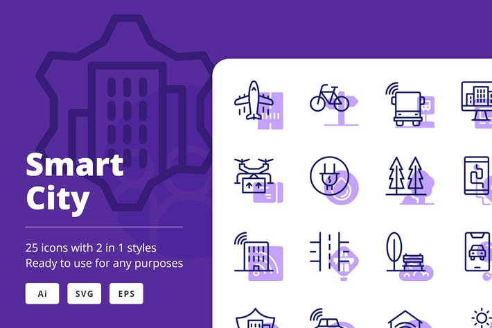 Smart City Icons (Line and Solid)
