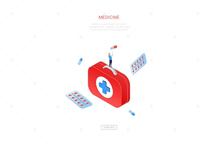 Medicine and healthcare - isometric web banner