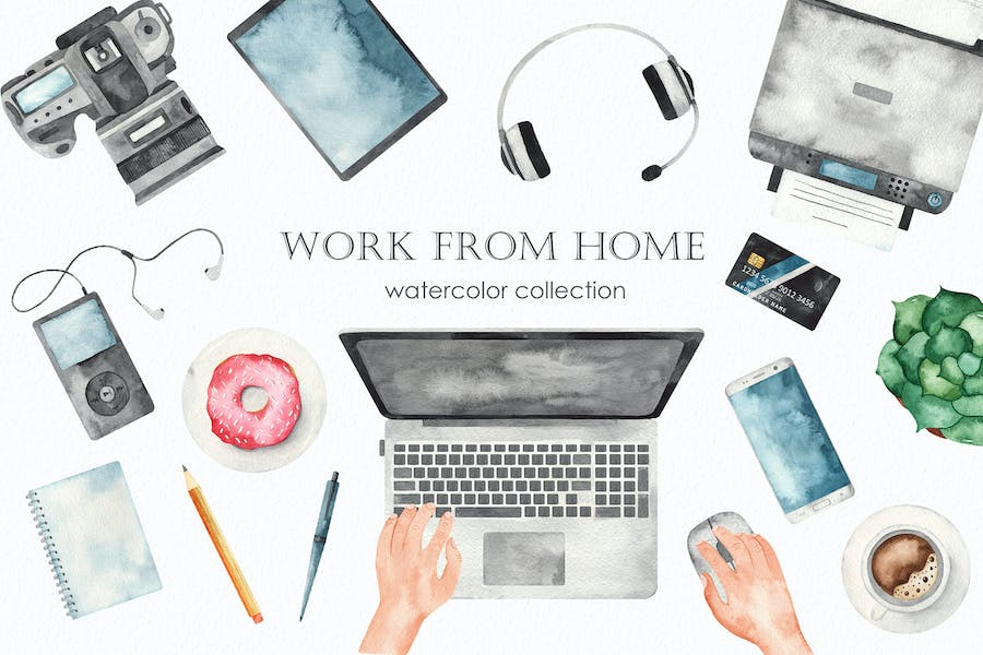 Watercolor Work from home Clipart