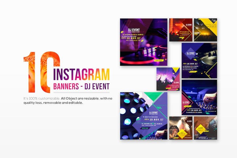 10 Instagram Post Banners-DJ Event