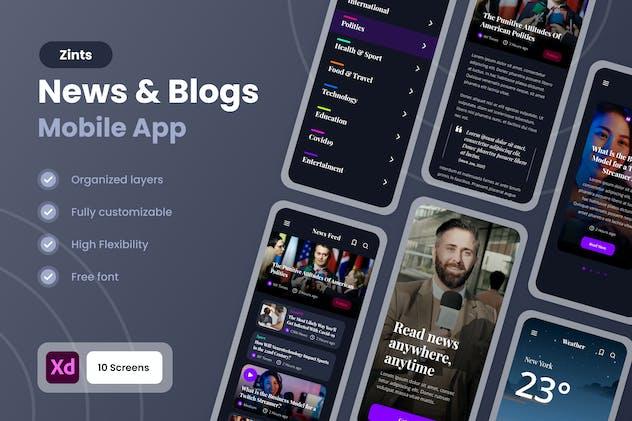Zint - News & Blogs Mobile App UI Kit