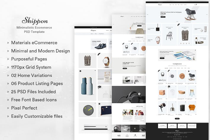 Thumbnail for Shippon | Minimalist eCommerce PSD Template
