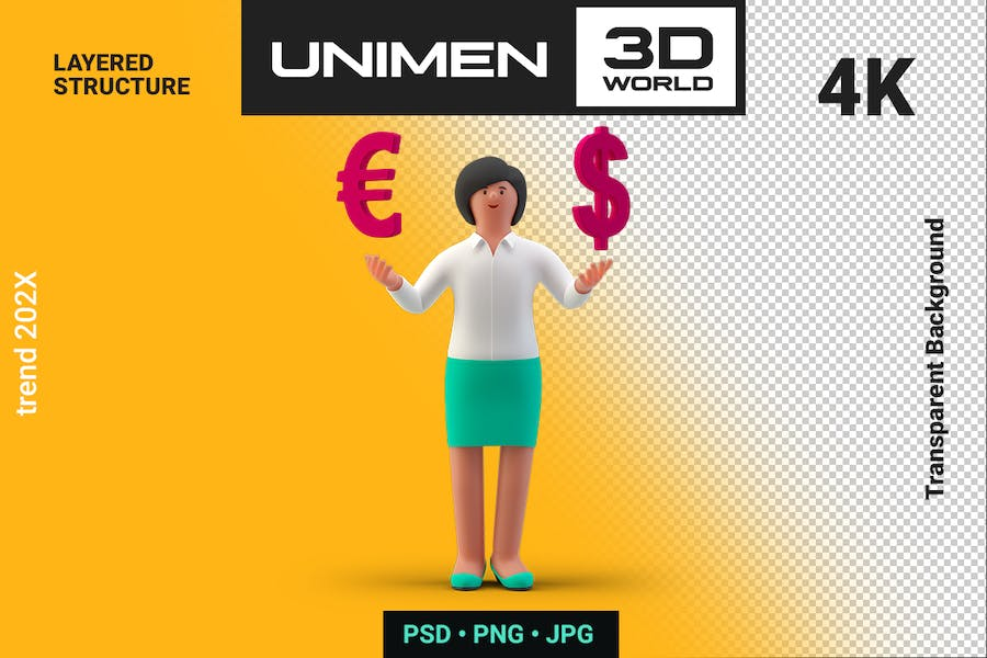 Businesswoman 3D choose Dollar or Euro to Invest