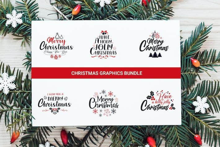 Weihnachtliches Grafiken paket, Typografie-Design