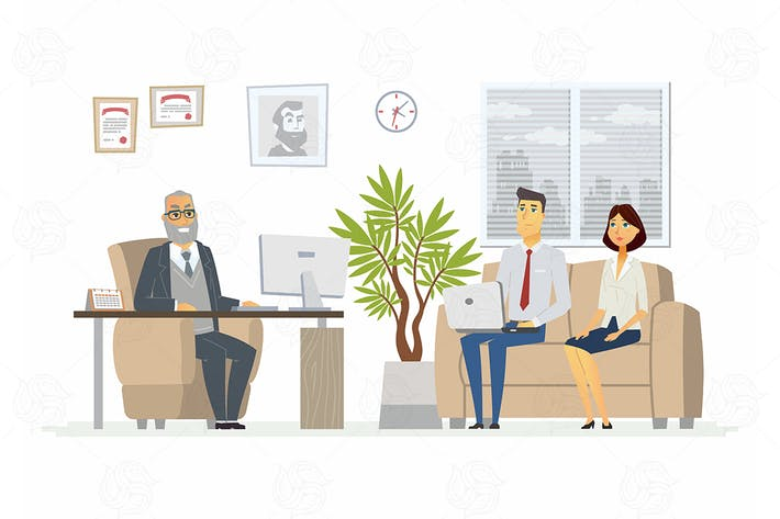 Thumbnail for Office Head Consultation - vector illustration