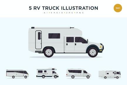 5 RV Truck Vector Illustration Set 1
