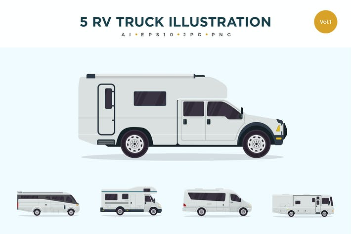 Thumbnail for 5 RV Truck Vector Illustration Set 1