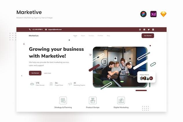 Marketive - Marketing Agency Website Landing Hero