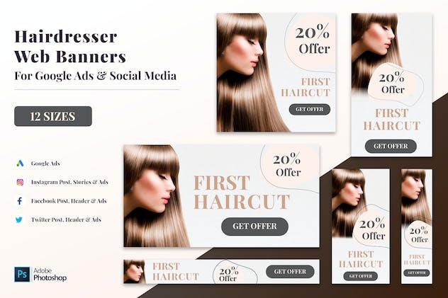 Hairdresser Web Banners, Google Ads Posts & Header