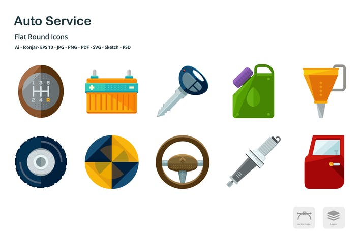 Thumbnail for Auto Services and Transportation Flat Icons