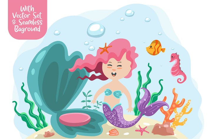 Thumbnail for Mermaid vector with seamless