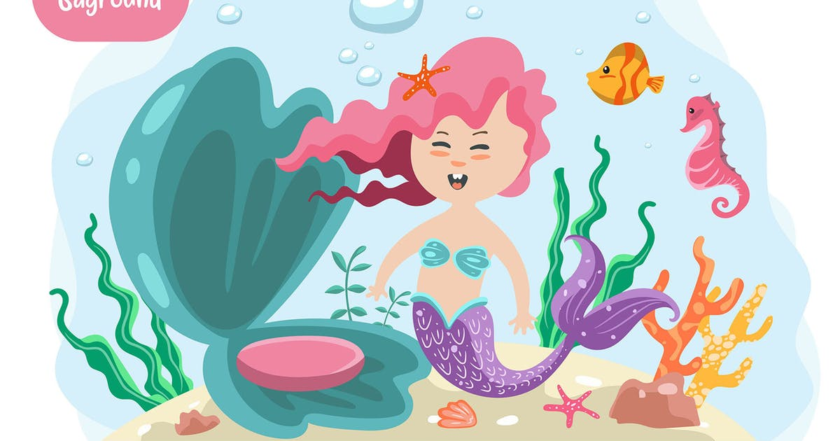 Download Mermaid vector with seamless by Olexstudio