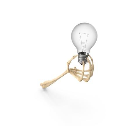 Skeleton Hand Holding a Light Bulb