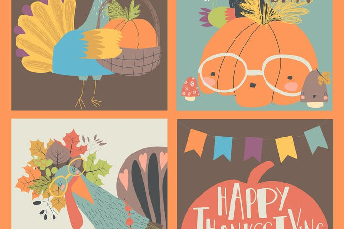 Thumbnail for Vector set of Thanksgiving card with turkey and pu