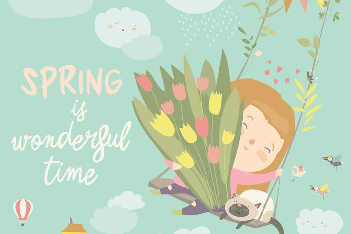Cover Image For Girl sitting on swing with spring flowers. Vector