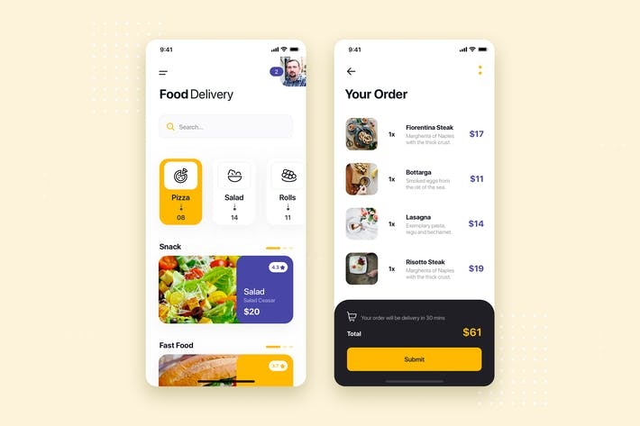 Thumbnail for Food Delivery Mobile App UI Kit Template