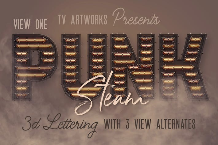 Thumbnail for Steampunk Neon 3D Lettering View 1
